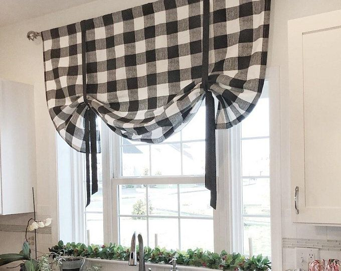 Black And Natural Buffalo Check Tie Up Shade Designer Valance Plaid Valance Modern Home Decor Nursery Decor Kitchen Curtain Tie Up Shades Home Decor Kitchen Curtains