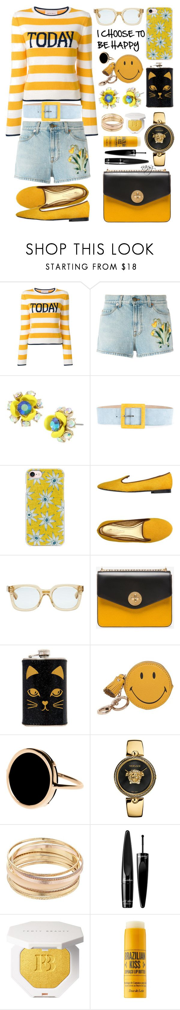 """BE HAPPY! :)"" by nans0717 ❤ liked on Polyvore featuring Alberta Ferretti, Gucci, Betsey Johnson, CH Carolina Herrera, Casetify, Avec Modération, Bally, Anya Hindmarch, Ginette NY and Versace"