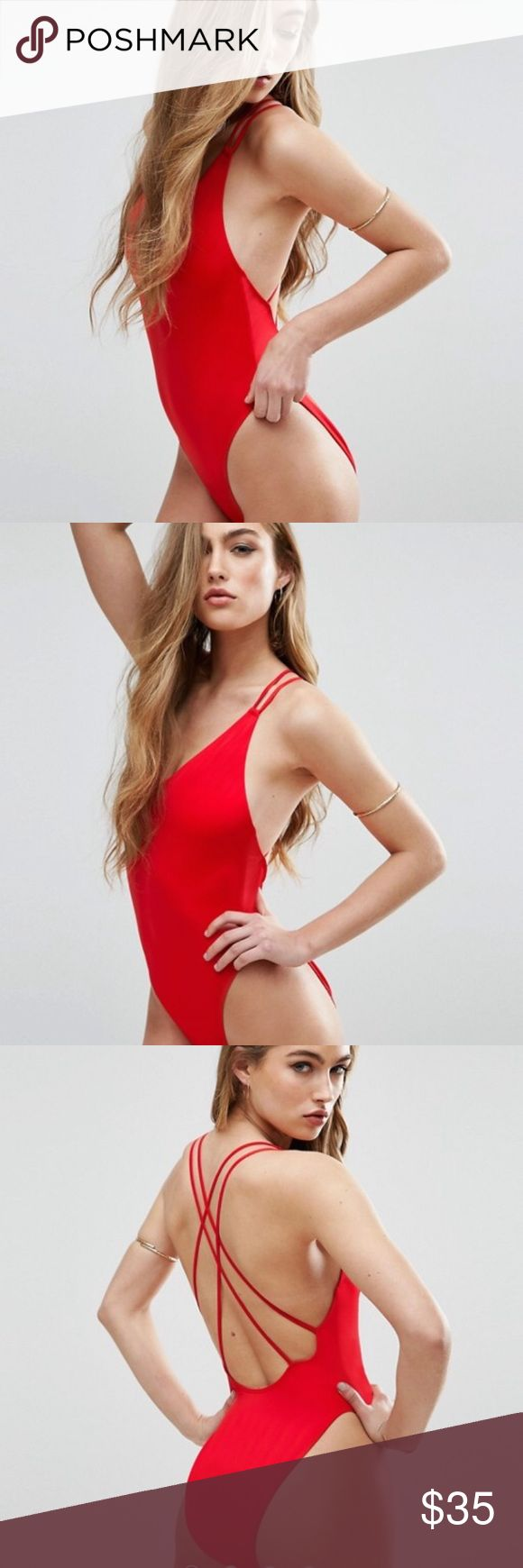 ASOS High cut cross back red swimsuit Baywatch NWT FROM ASOS Asos Swim One Pieces