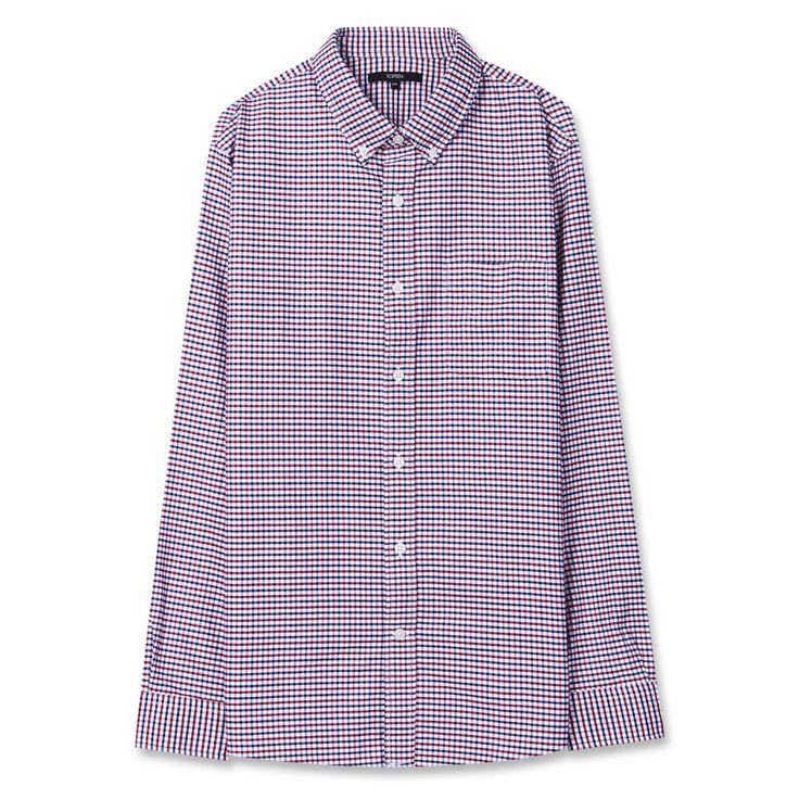 Topten10 Unisex Oxford Buttondown Red Blue Little Checks Cotton Dress Shirts #Topten10