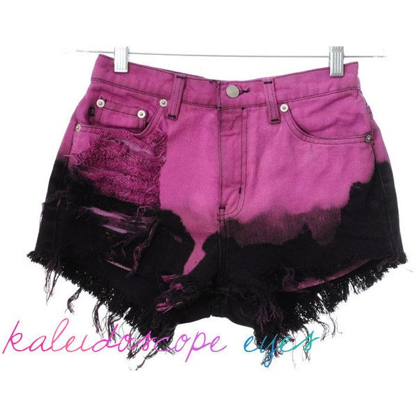 Vintage Ralph Lauren OMBRE Dip Dyed Denim Destroyed High Waist Cut Off... ($60) ❤ liked on Polyvore featuring shorts, bottoms, pants, destroyed denim shorts, high waisted ripped shorts, high-waisted denim shorts, distressed denim shorts and high-waisted cut-off shorts