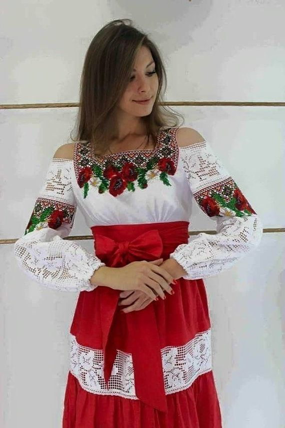 Ukrainian Traditional Handmade Beaded Dress Decorated with Lace/Wild…