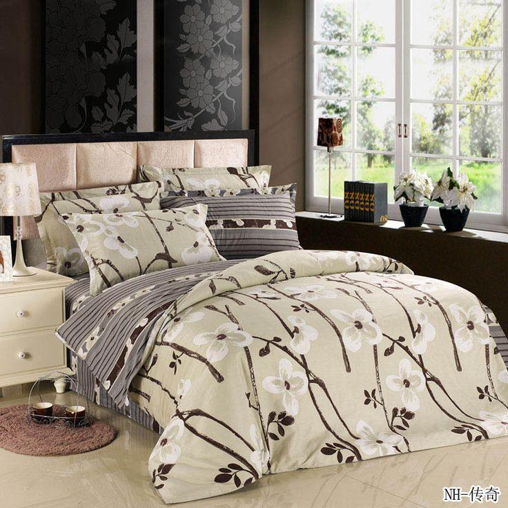 Дешевое Больше размер коричневый цветок 4 шт. нью сплетенные реактивной печать / королева / король / полный размер бренд одеяла постельные принадлежности, Купить Качество Постельное бельё непосредственно из китайских фирмах-поставщиках:    1. Этот продукт включает 4 шт., постельных комплектов, 1 шт. пододеяльник, 1 шт. плоские листы, 2 шт. наволочку, оно