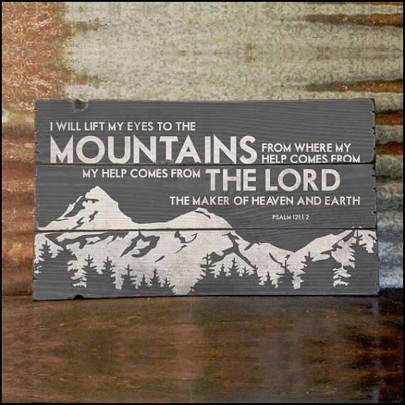 "Large ""Psalm 121"" Customizable Handcrafted Rustic Wood Sign - Original Alpine Graphics Design - 3 Sizes - 3051"
