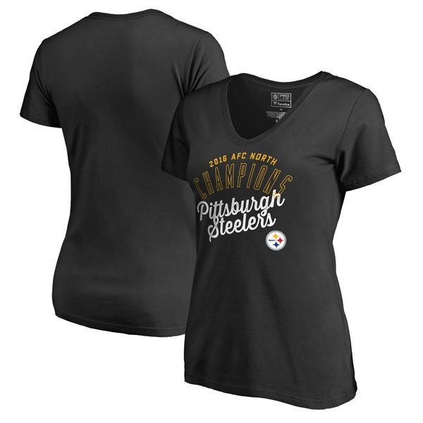 Pittsburgh Steelers Pro Line by Fanatics Branded Women's 2016 AFC North Division Champions V-Neck T-Shirt - Black - $20.99