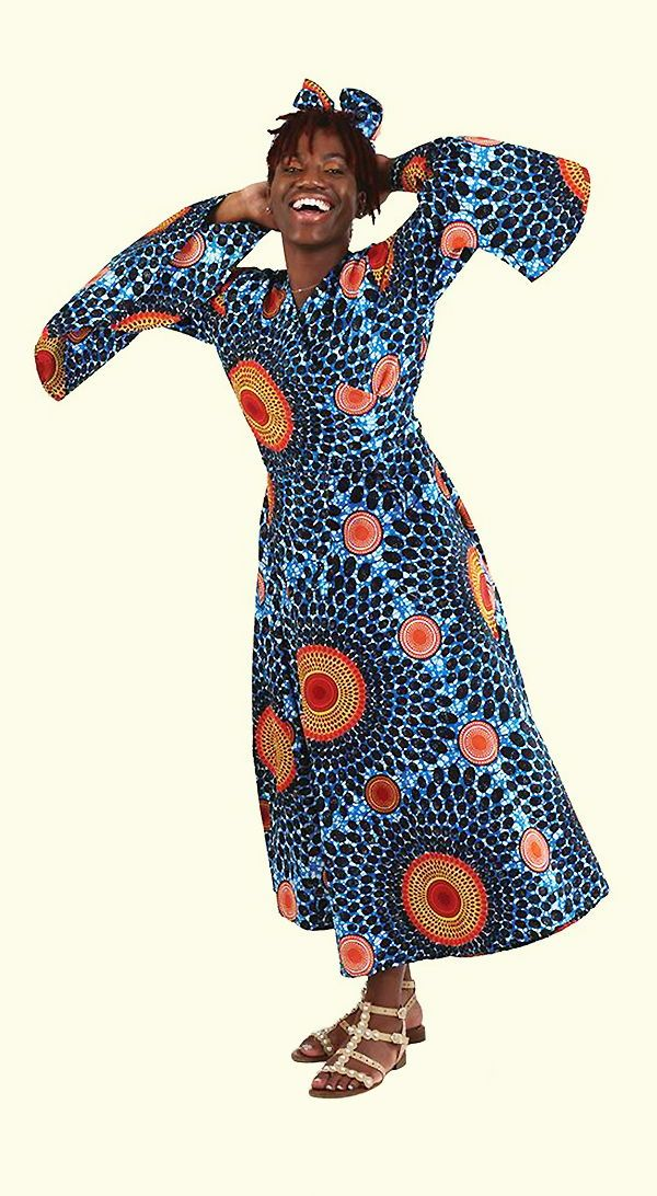 Circle Print Wrap Dress Blue African Fashion Designers African Fashion Fashion