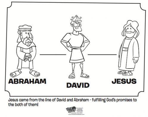 Kids Coloring Page From Whats In The Bible Featuring Abraham David And Jesus