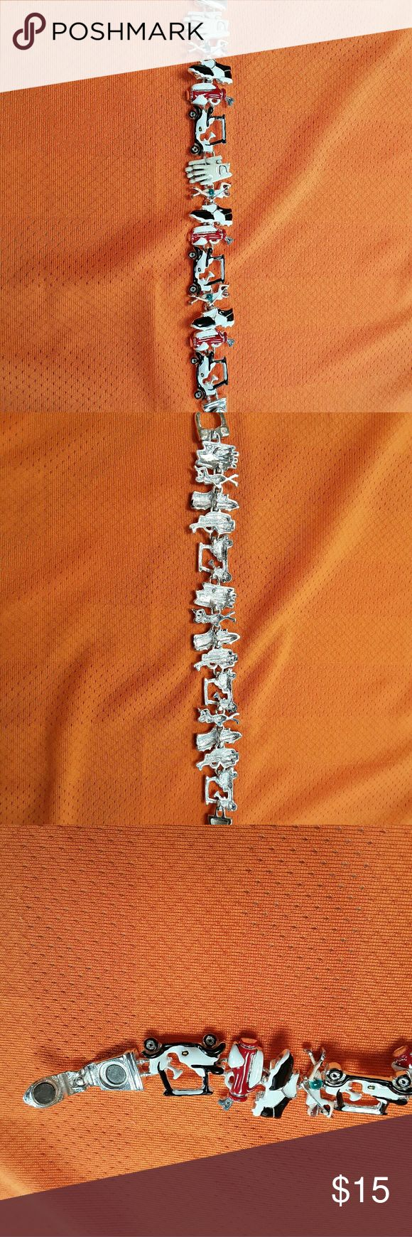 Stylish Themed magnetic golf bracelet Very good used condition. Multi color silver tone. no branded   Jewelry Bracelets