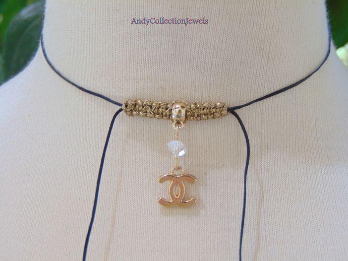 Tiny black satin choker Replica CC charm choker Zwarovski crystal choker Minimalist choker Delicate womens jewelry gift Birthday gift idea by AndyCollectionJewels, $13.00 EUR
