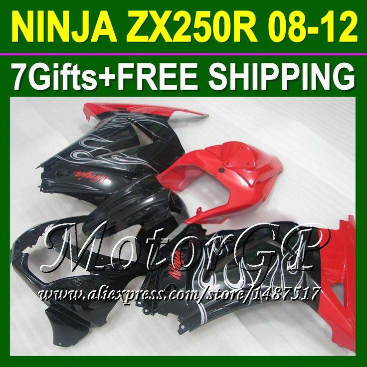 Купить товар7 подарки + для Kawasaki ниндзя ZX250 08 09 10 11 12 красный черный 16 # 29 ZX 250 ниндзя 250r 2008 2009 2010 серебро ZX250R зализа в категории Щитки и художественная формовкана AliExpress.
