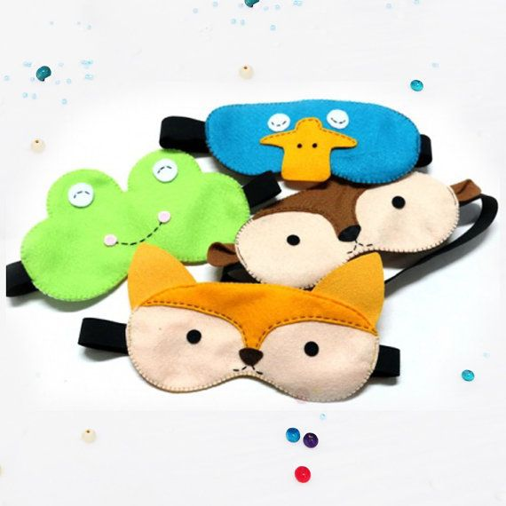 Check out this item in my Etsy shop https://www.etsy.com/listing/267299338/eye-mask-with-hand-sewn-felt-frog-fox