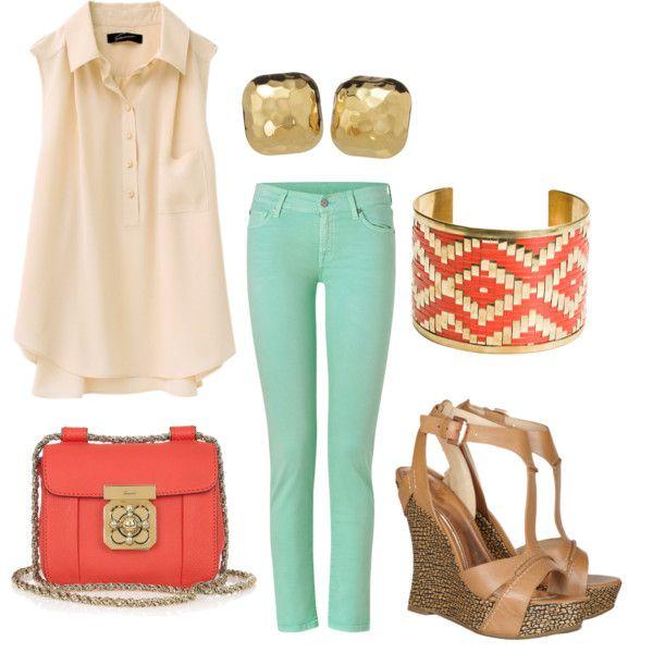 MANGO & MINT: Mint Pants, Colors Combos, Colors Jeans, Southern Charms, Mint Coral, Colors Combinations, Mint Jeans, Summer Colors, Coral Mint