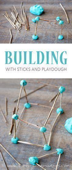 Building with Sticks and Playdough