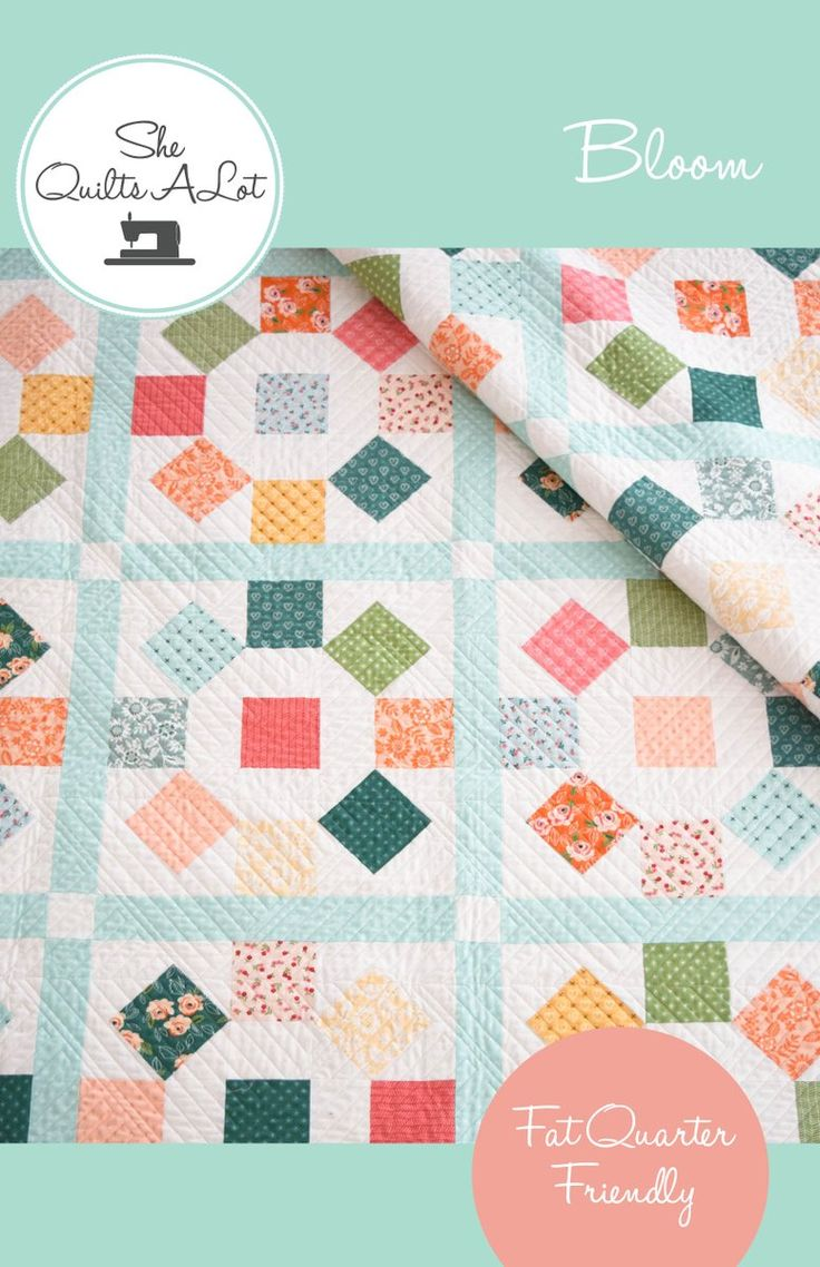 Bloom is a simple quilt made with fat quarters based on a traditional  'rolling stone