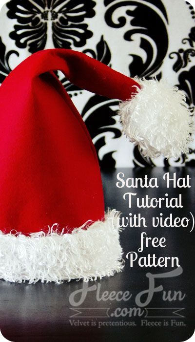 Easy Santa hat DIY with a free sewing pattern. Love this fleece sewing project for Christmas.