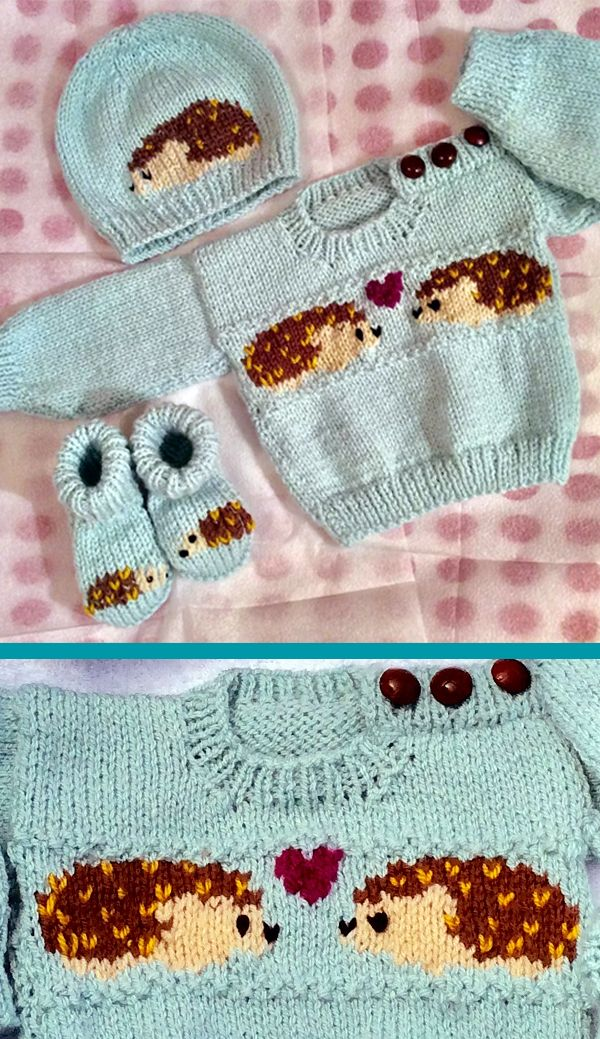 Knitting Pattern For Hedgehog Baby Sweater Set Baby Knitting Patterns Knitting Patterns Intarsia Knitting