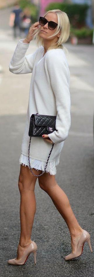 White Fringed Oversize Sweater
