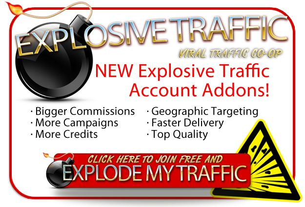 Explosive Traffic's Co-Op system helped me generate more sales by getting traffic from literally thousands of different traffic exchanges.