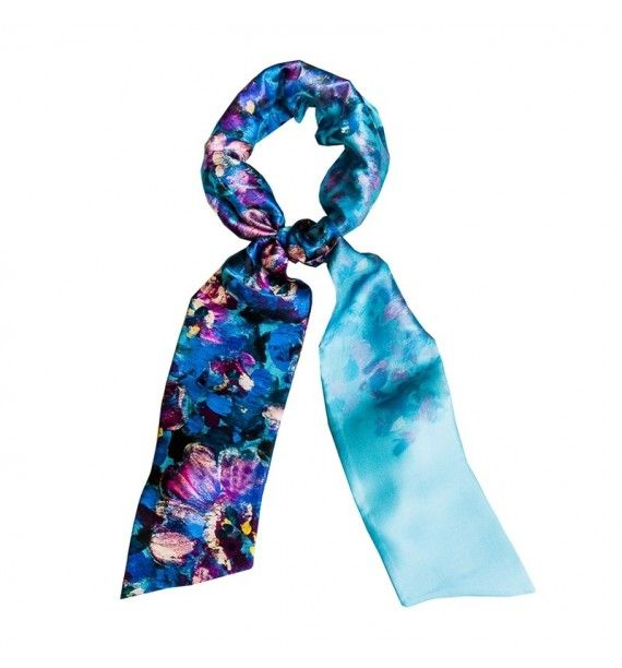 Esarfa matase naturala albastru intens-Tie-Me-Up