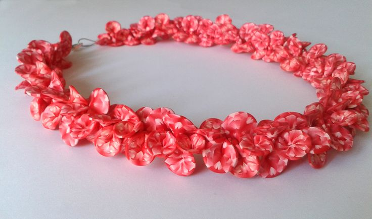 handmade polymer clay necklace with coral petals
