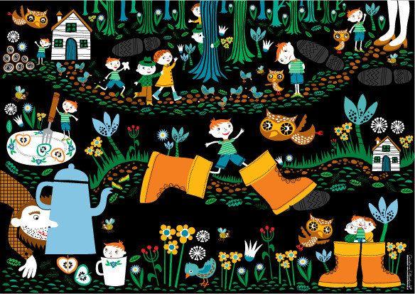 Muursprookjes zijn kleurrijke, vrolijke prenten voor aan de wand. Elke prent vertelt een klassiek sprookje, zoals het verhaal van Klein Duimpje. Het hele sprookje is afgebeeld op deze prachtige groot formaat poster. Verkrijgbaar bij De Oude Speelkamer.