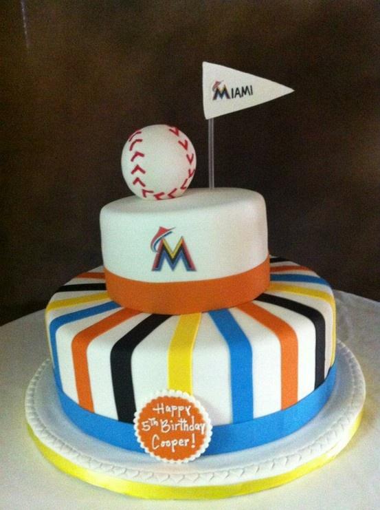 Miami Marlins Birthday cake. Sport cupcakes, Cupcake