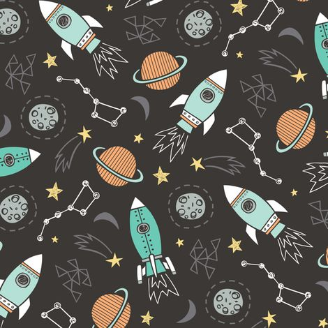 Rockets fabric by caja design on spoonflower custom for Rocket fabric