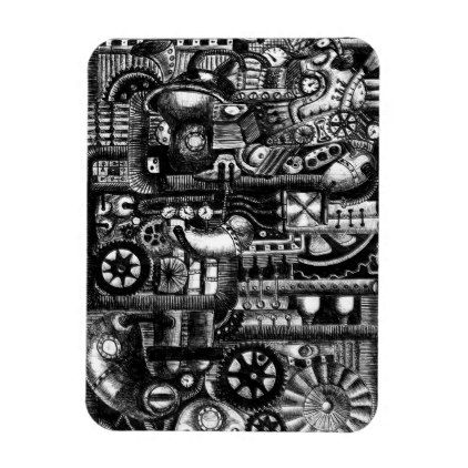 steampunk draw machinery cartoon mechanism pattern magnet - diy cyo customize create your own #personalize