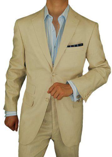 http://undergroundsoundsky.com Bianco Brioni Made in Italy Linen Mens Suit 2 Button Flat Front Pants Ticket Pocket Custom Working Buttonholes Beige (38 Short US)