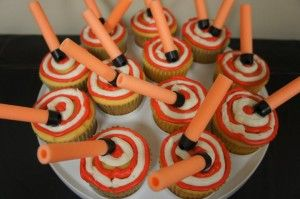 nerf cupcakes. Great for a boys birthday party!