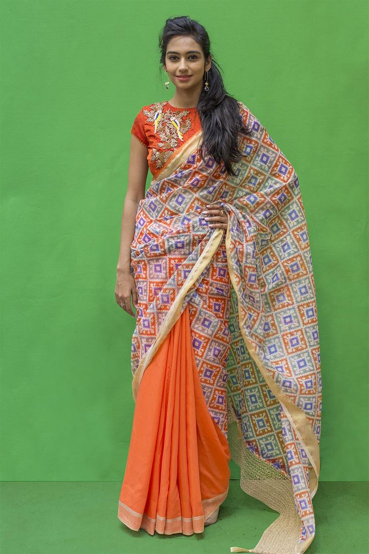 Din't we say we are crushing on cool half and half saree combinations this season? This time in a combination of orange blue. A sprightly orange saree in soft cotton silk combined with a blue orange cotton kota pallu. The detailing includes a simple gold tissue border and a gold pearl stone filigree border for the pallu. Pick a blouse in one of the pallu shades of orange or blue. #houseofblouse #saree #kota #blouse #indianwear #india #fashion #bollywood #halfandhalfsaree
