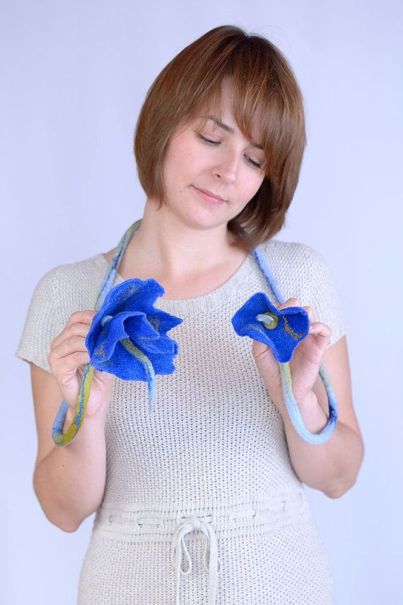 Felt rope necklace with deep blue bluebell flowers by BlanCraft