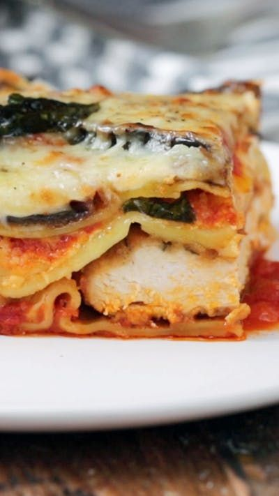 How do you make 3 meals in one? By incorporating chicken and eggplant Parmesan into a thick, hearty lasagna.