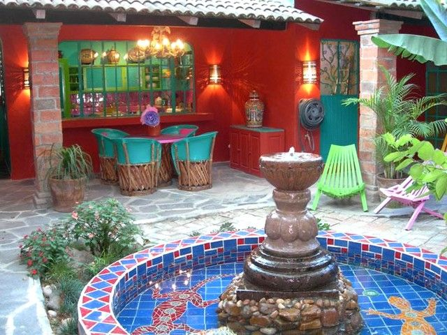 197 best Mexican Courtyards & Gardens images on Pinterest ... on Mexican Patio Ideas  id=82815