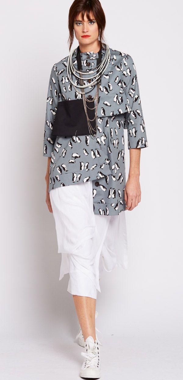 Nicola Waite Resort SS2016 Penguin Print Pocket Swing Jacket $299.00 AUD N2180.3113