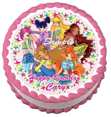 "WINX CLUB  8"" Round Edible Image Birthday Party Decoration Cake Topper cupcake. $8.50, via Etsy."