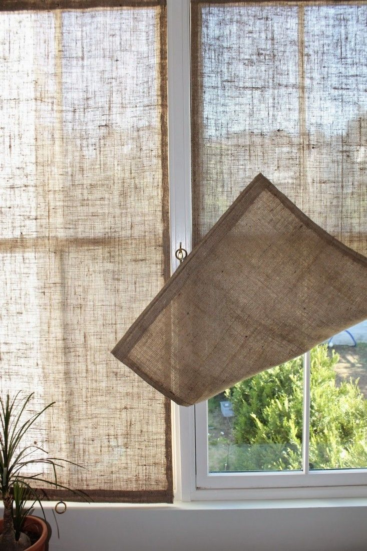 So i decided to make the curtains well semi home made - The Shingled House Diy Easy Burlap Shades For Less Than 20 Each