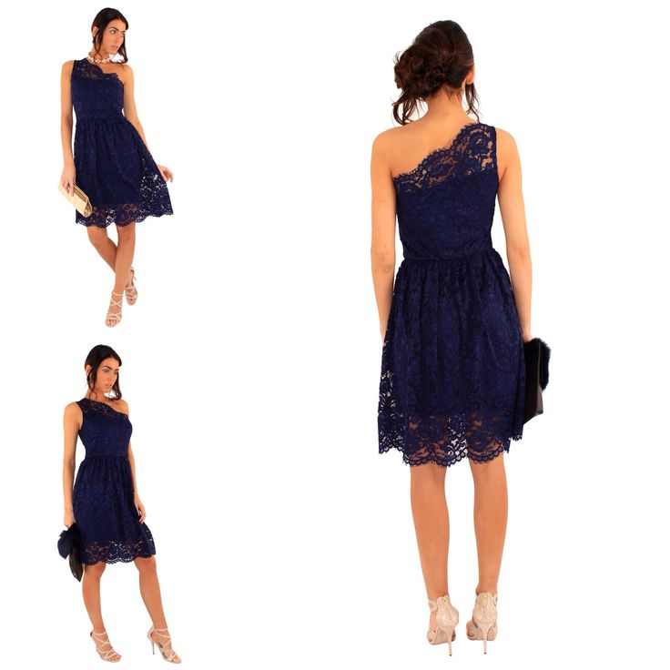 Prom, party, holiday or wedding? Perfect outfit to give you glamour! Shop here:-http://www.chameleonclothinguk.co.uk/navy-one-shoulder-lace-skater-dress