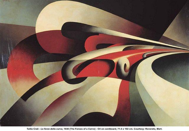 Tullio Crali, Le forze della curva #tulliocrali #pittura #arte #futurismo #auto