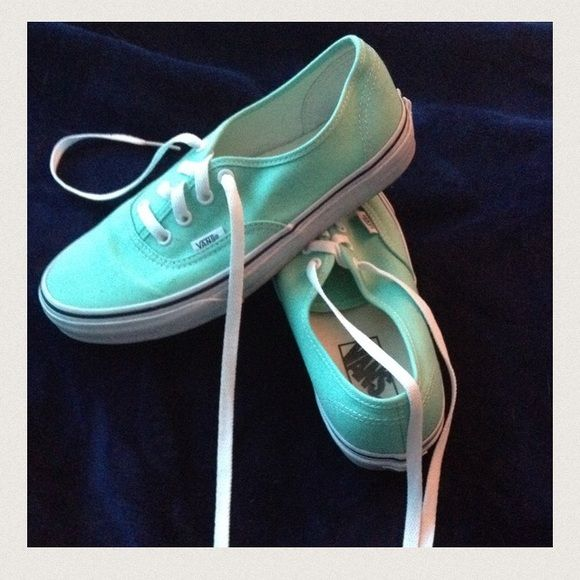 Mint Green Vans Unisex style vans in a gorgeous mint green. Worn only two times. Ready to sell! PERFECT CONDITION😊 Cheaper on Merc!!! Vans Shoes Sneakers