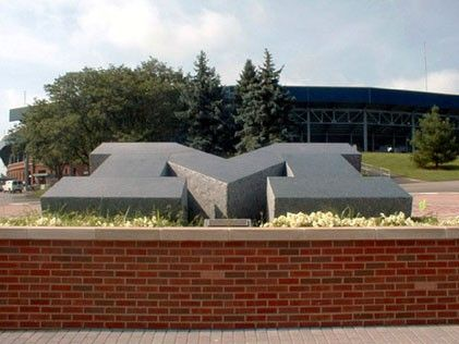 The 100,000-pound M is made of blue pearl granite that was quarried in Norway, and then shipped to Carrera, Italy, where it was carved. It made its way to Ann Arbor via ship and three semi-truck trailers. #GoBlue: Goblue, Semi Truck Trailers, Ann Arbor, Michigan Wolverines, Ship, Go Blue, Three Semi Truck, Blue Pearl Granite, Michigan Sports