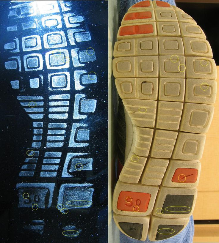 Shoe Print Comparison      Do this with a couple of the student's shoes, and have the class 'track'