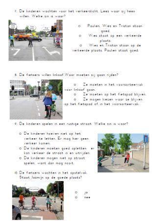 Bij de 2de bladzijde met verkeersregels uit het werkboek (Wegwijs, groep 7) heb ik een toets verkeersregels gemaakt.