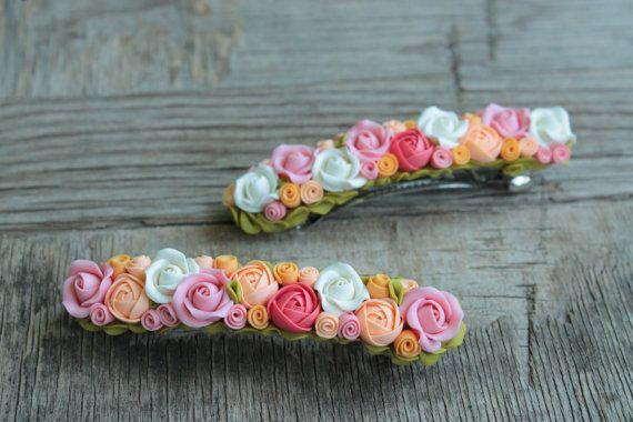 Pinza de pelo de flores pelo clip - arcilla polimérica - boda                                                                                                                                                                                 Más