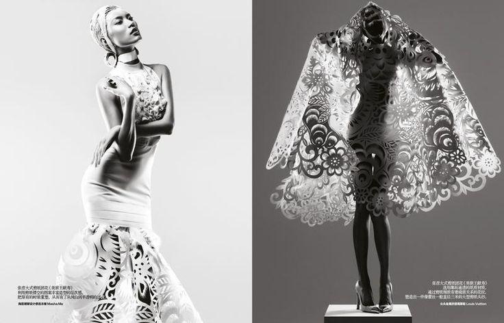 Бумажные платья в Harper's Bazaar China may 2012