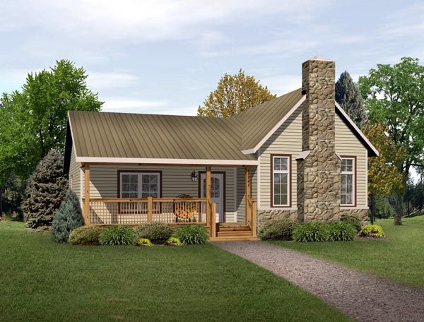 *Great Layout for office...Large kitchen!* Elevation of Country   Narrow Lot   Ranch   Vacation   House Plan 49193