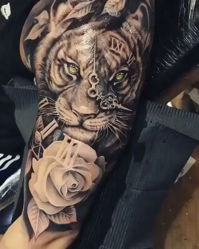 Tiger Tattoo for Men Lion Forearm Tattoos, Lion Head Tattoos, Forarm Tattoos, Irezumi Tattoos, Dope Tattoos, Body Art Tattoos, Tiger Tattoos For Men, Male Leg Tattoos, Unique Forearm Tattoos