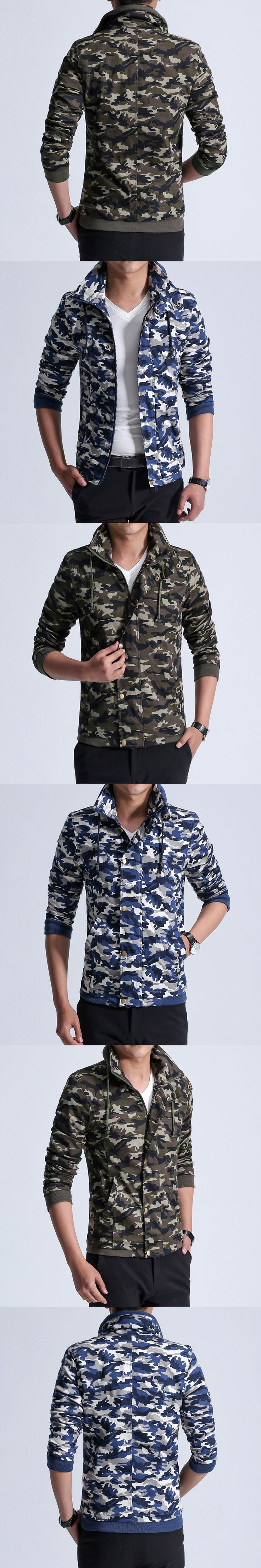 Blue Green Camouflage Printed Bomber Jackets Men Stand Collar Long Sleeve Spring Autumn Coats 2017 New Zipper Up Slim Outwear