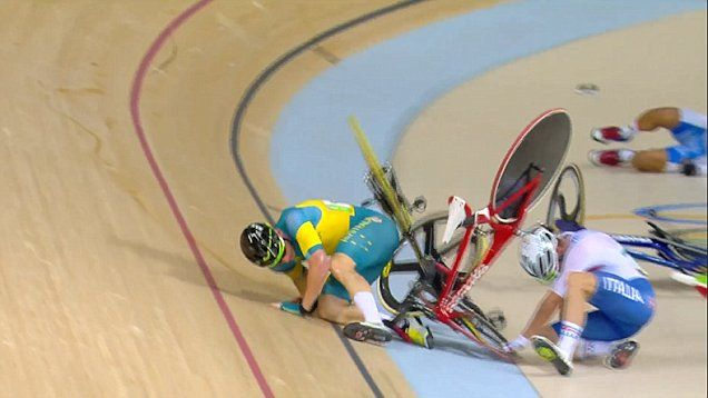 Team GB cyclist Mark Cavendish takes out three riders during his 160-lap race, but still wins a silver medal in the velodrome.