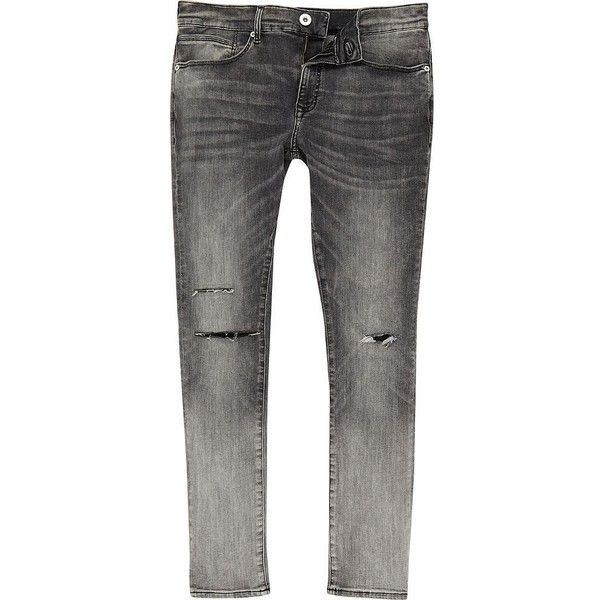 River Island Grey ripped Danny super skinny jeans (£45) ❤ liked on Polyvore featuring men's fashion, men's clothing, men's jeans, jeans, mens grey jeans, mens super skinny jeans, mens ripped skinny jeans, mens torn jeans and mens skinny jeans